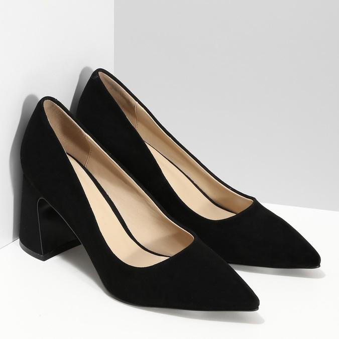 Černé dámské lodičky z broušené kůže bata, černá, 623-6605 - 26