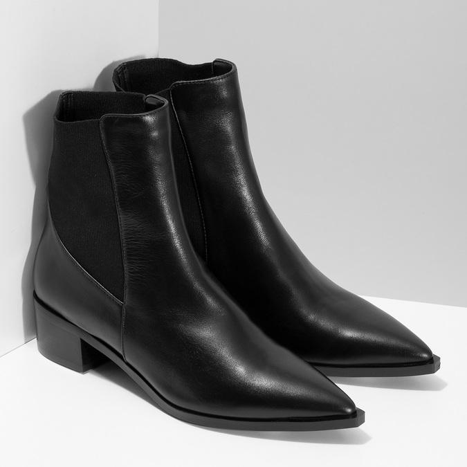 Kožené kotníčkové Chelsea kozačky bata, černá, 694-6617 - 26