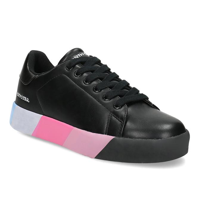 Černé dámské tenisky s barevnou podešví north-star, černá, 541-6611 - 13