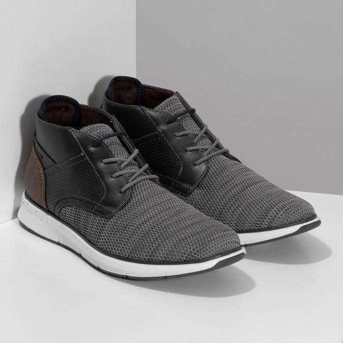 Šedá pánská kotníčková obuv s hnědým detailem bata-red-label, šedá, 821-2673 - 26