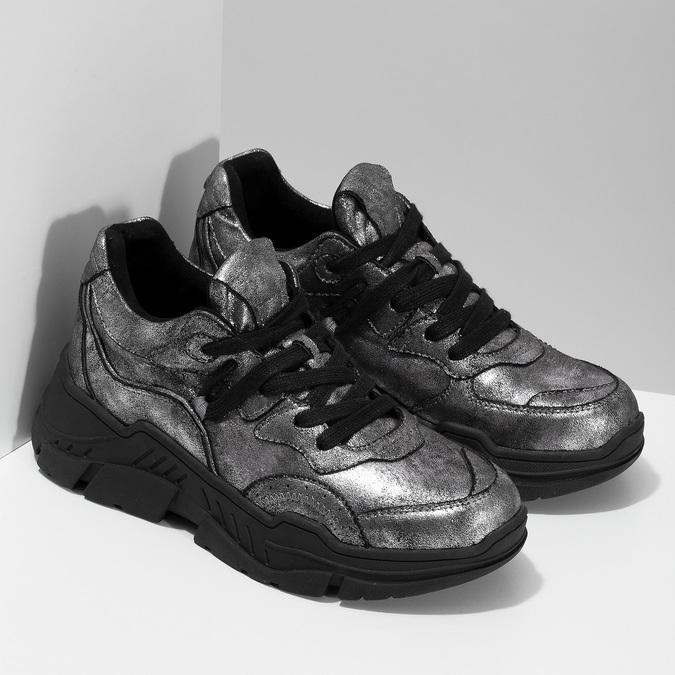Stříbrné dámské tenisky v Chunky stylu bata-light, stříbrná, 641-4601 - 26