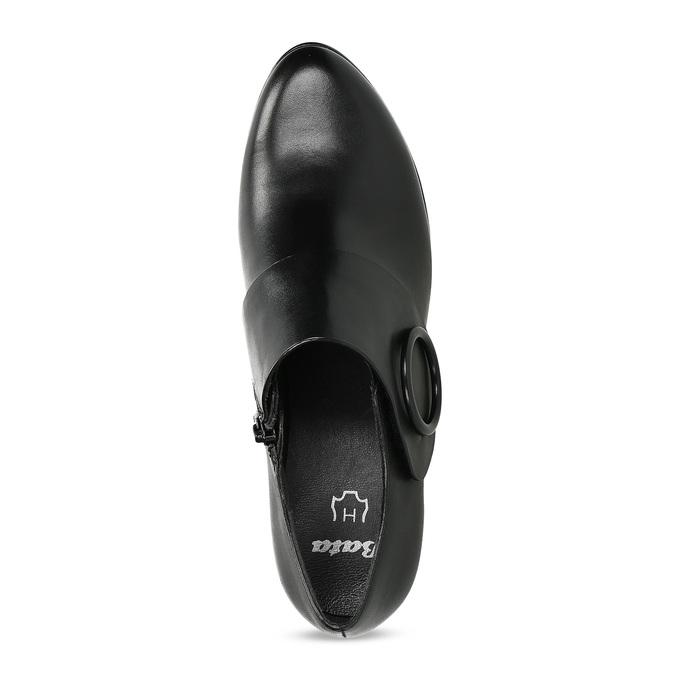 Kotníčková kožená obuv na stabilním podpatku bata, černá, 624-6609 - 17