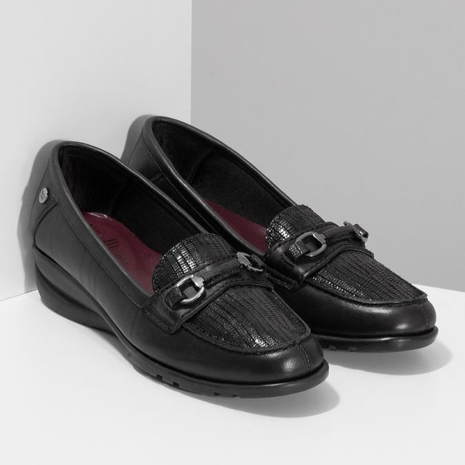 Kožené černé dámské mokasíny s přezkou comfit, černá, 514-6604 - 26