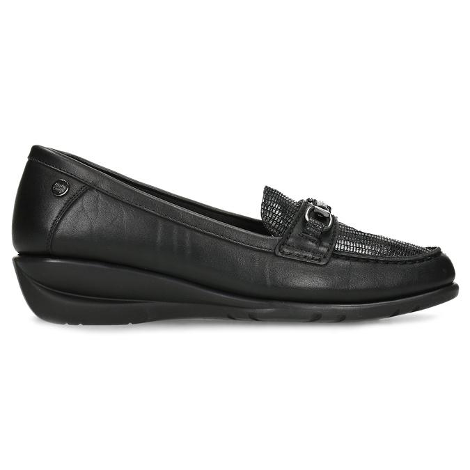 Kožené černé dámské mokasíny s přezkou comfit, černá, 514-6604 - 19