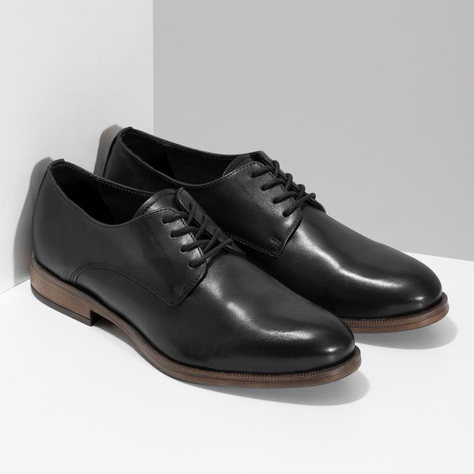 Dámské kožené černé Derby polobotky bata, černá, 524-6608 - 26