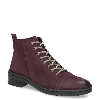 Dámská vínová kožená kotníčková obuv bata, červená, 596-5604 - 13