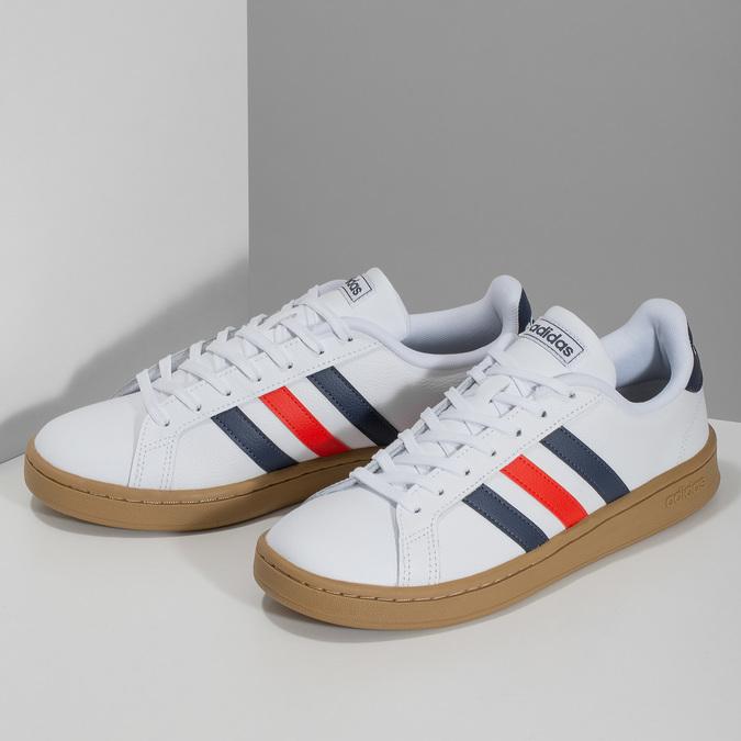 Bílé pánské ležérní tenisky s prošitím adidas, bílá, 801-1163 - 16