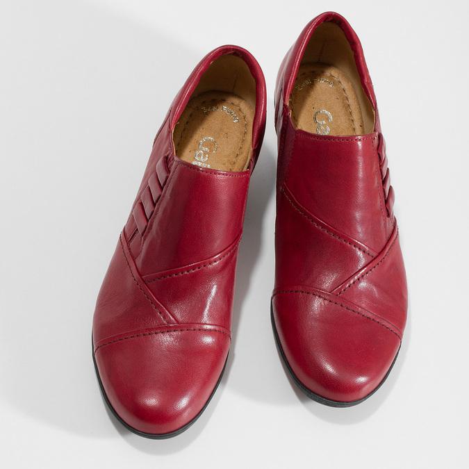 Červené kožené kotníčkové kozačky s prošitím gabor, červená, 626-5102 - 16