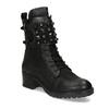 Černé kožené kozačky s kovovými cvoky bata, černá, 596-6600 - 13