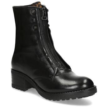 Kožené černé dámské kozačky se zipem bata, černá, 596-6612 - 13