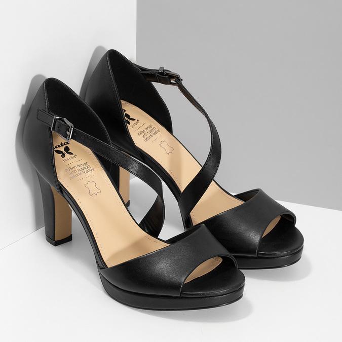 Kožené černé sandály s asymetrickým páskem insolia, černá, 764-6600 - 26