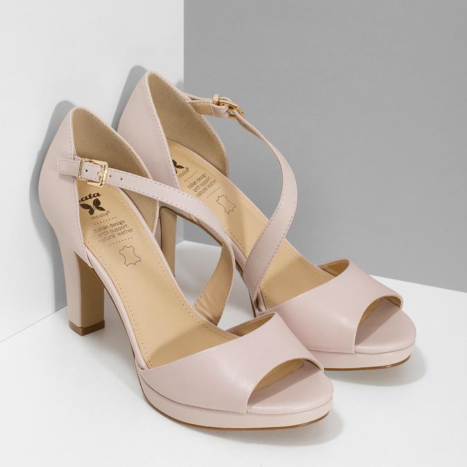 Tělové kožené sandály s asymetrickým páskem insolia, béžová, 764-8600 - 26