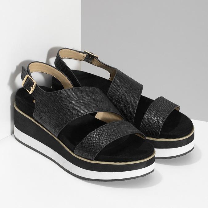 Černé dámské sandály na platformě bata, černá, 561-6631 - 26