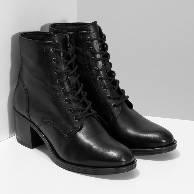 Kožené kotníčkové kozačky na stabilním podpatku bata, černá, 694-6620 - 26