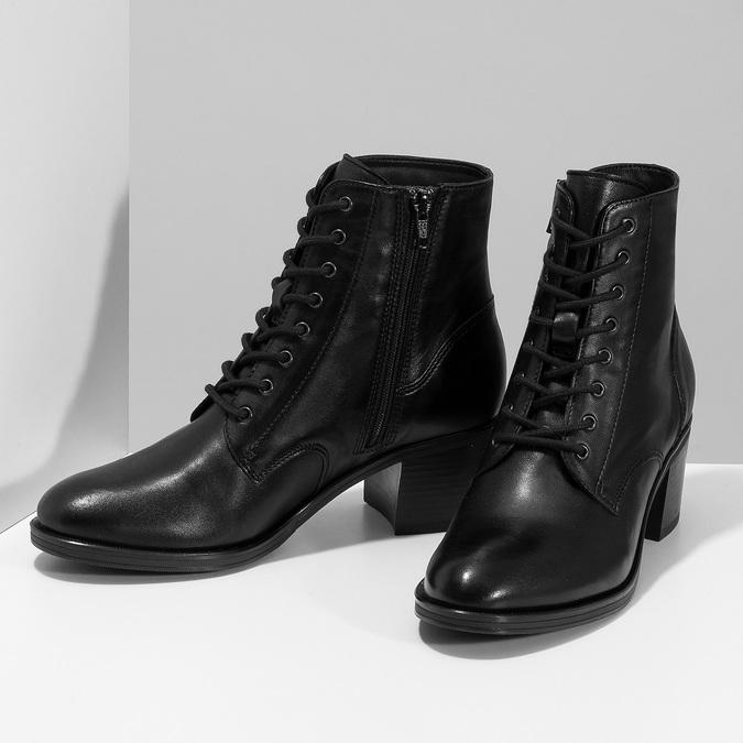 Kožené kotníčkové kozačky na stabilním podpatku bata, černá, 694-6620 - 16