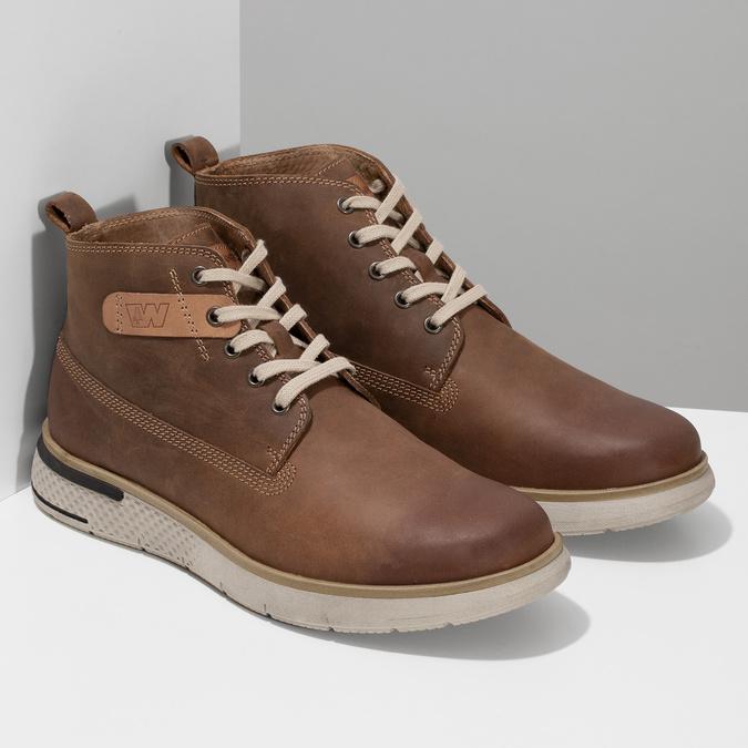 Pánská hnědá kožená kotníčková obuv weinbrenner, hnědá, 846-3638 - 26