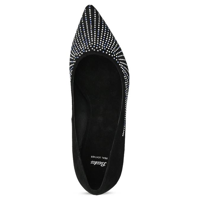 Černé lodičky s kamínky na jehlovém podpatku bata, černá, 729-6608 - 17