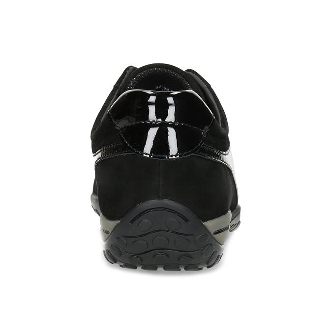Kožené černé tenisky s lakovanými částmi gabor, černá, 526-6102 - 15