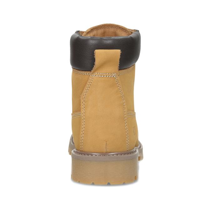 Dámské kožené Worker Boots s prošíváním weinbrenner, žlutá, 596-8603 - 15