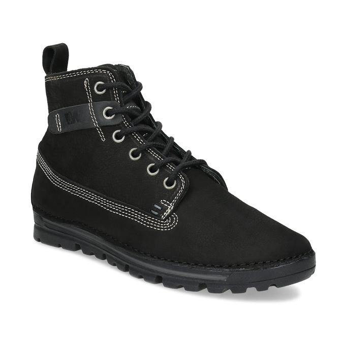 Kotníčkové kožená obuv s kontrastním prošitím weinbrenner, černá, 596-6602 - 13