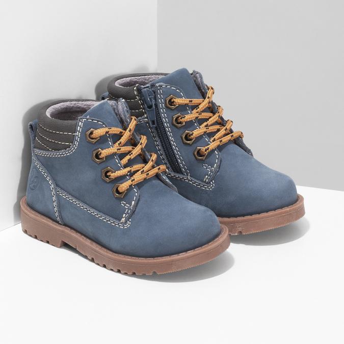 Dětská modrá kotníčková obuv s prošitím bubblegummers, modrá, 116-9620 - 26