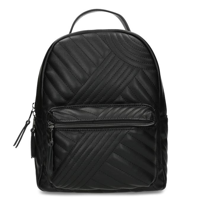 Dámský černý batoh s prošitím bata, černá, 961-6996 - 26