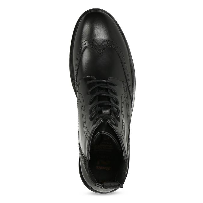 Kotníčková kožená obuv s Brogue zdobením flexible, černá, 894-6742 - 17