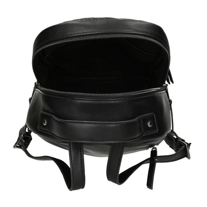 Dámský černý batoh s prošitím bata, černá, 961-6996 - 15
