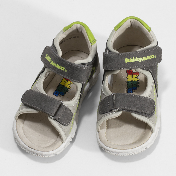 Šedé dětské sandály se zelenými detaily bubblegummers, šedá, 161-3614 - 16