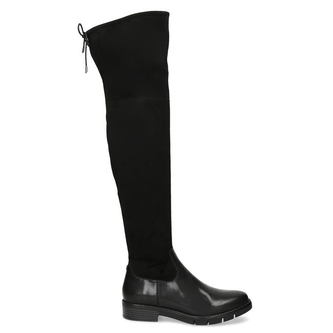 Černé kožené dámské vysoké kozačky flexible, černá, 594-4601 - 19
