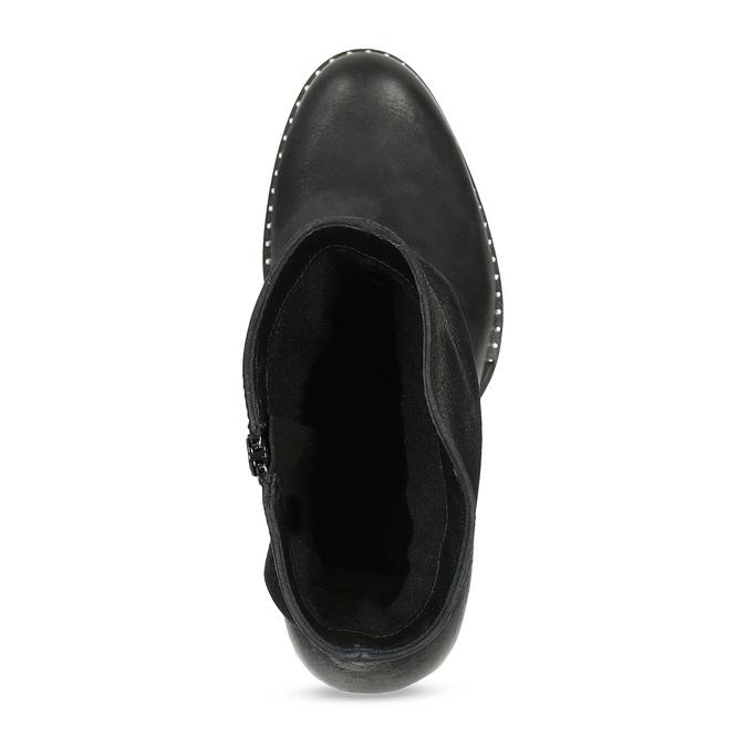 Dámské černé kožené kozačky s řasením bata, černá, 696-6601 - 17
