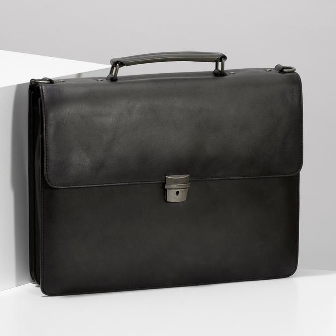 Pánská šedá kožená aktovka bata, šedá, 964-2613 - 17