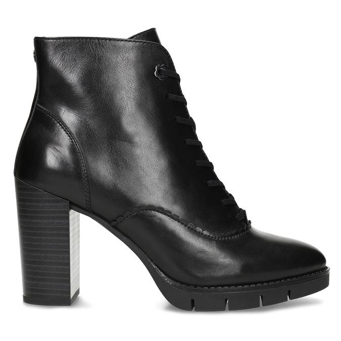 Kožené černé kotníčkové kozačky na podpatku flexible, černá, 794-6607 - 19