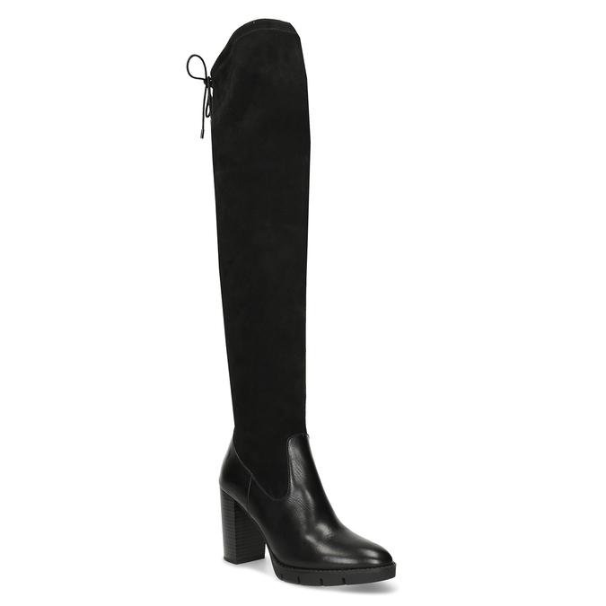 Kožené vysoké kozačky na stabilním podpatku flexible, černá, 794-6613 - 13