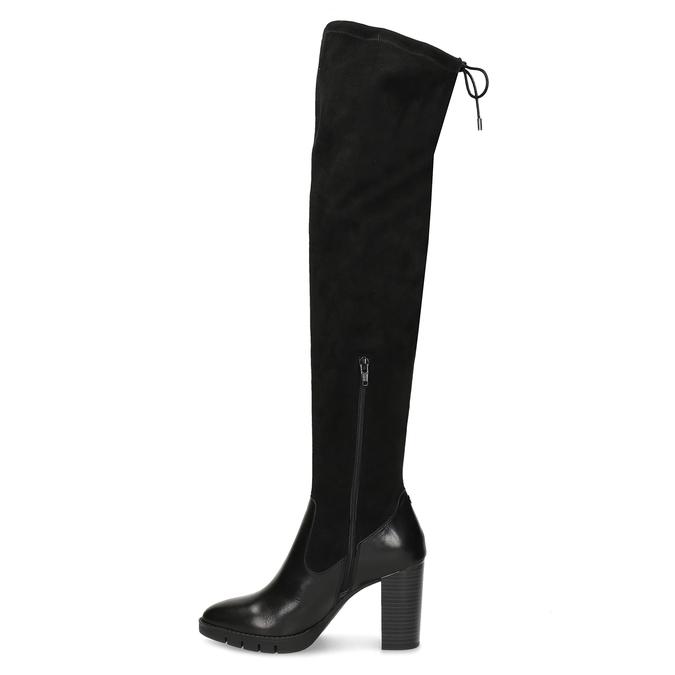 Kožené vysoké kozačky na stabilním podpatku flexible, černá, 794-6613 - 17