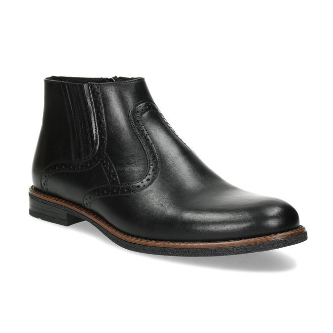 Pánská černá kožená kotníčková obuv conhpol, černá, 894-6602 - 13