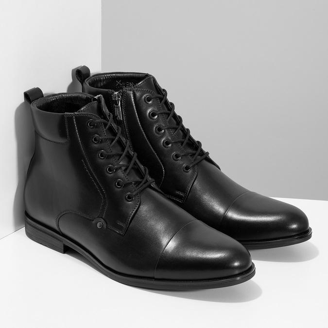 Kotníčková pánská černá kožená obuv conhpol, černá, 894-6604 - 26