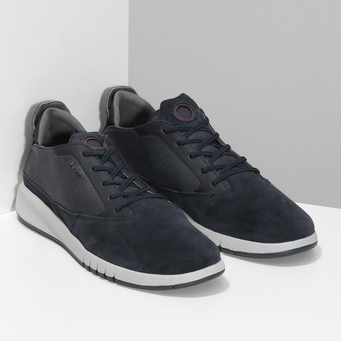 Tmavě modrá pánská kožená obuv geox, modrá, 826-9358 - 26