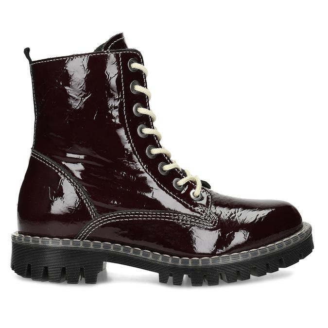 Kožené vínové lakované Worker Boots bata-125th-anniversary, červená, 536-5604 - 19