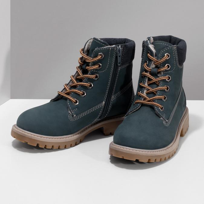 Dětské modré kožené Worker Boots weinbrenner, modrá, 296-9604 - 16