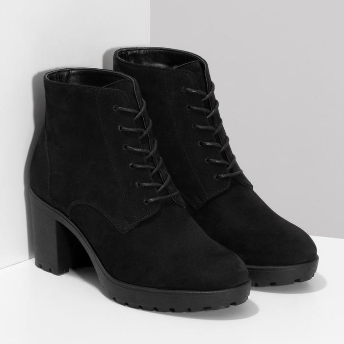 Černé kotníčkové kozačky z broušené kůže bata, černá, 796-6611 - 26