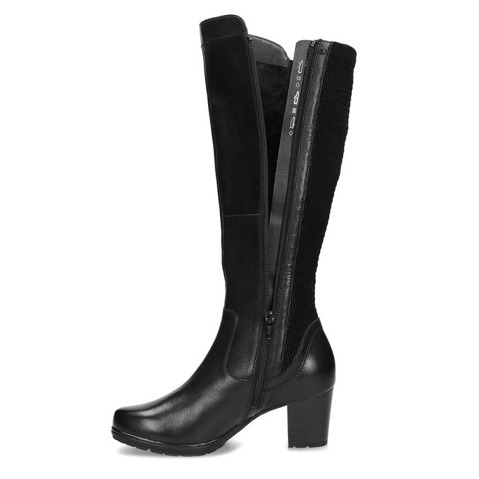Černé kožené kozačky na stabilním podpatku bata, černá, 694-6606 - 17