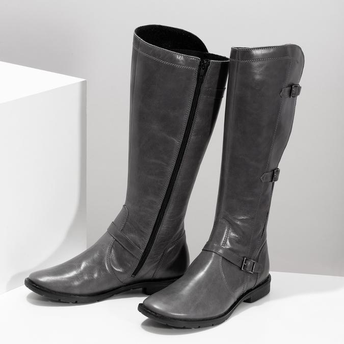 Šedé dámské kožené kozačky s přezkami bata, šedá, 596-2608 - 16