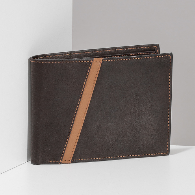 Hnědá pánská kožená peněženka s prošitím bata, hnědá, 944-4624 - 17