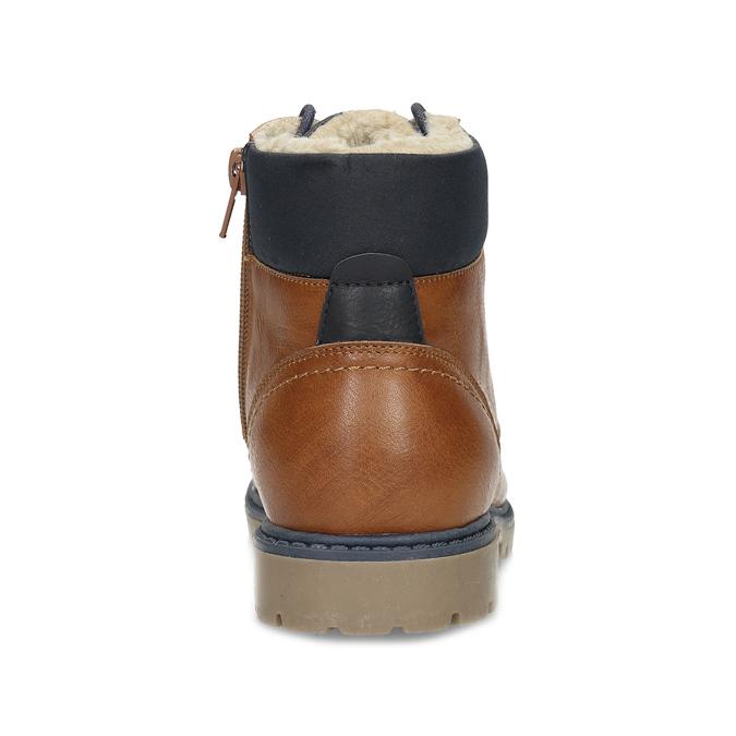 Hnědá dětská kotníčková obuv s prošitím mini-b, hnědá, 491-3667 - 15