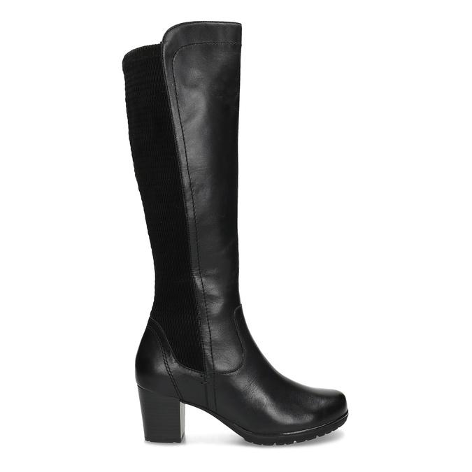 Černé kožené kozačky na stabilním podpatku bata, černá, 694-6606 - 19