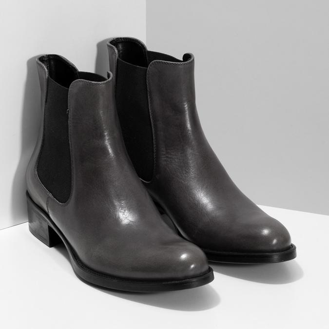Tmavě khaki dámská kožená Chelsea obuv bata, šedá, 594-3448 - 26