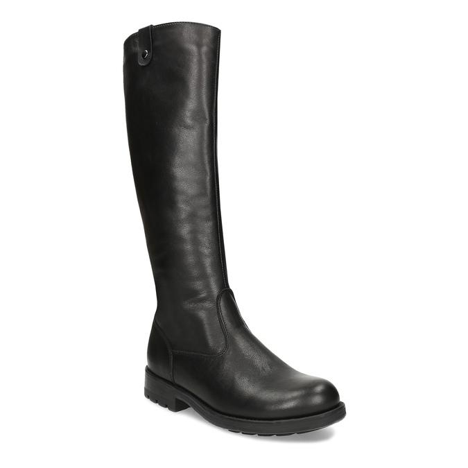 Černé dámské kožené kozačky bata, černá, 594-6689 - 13