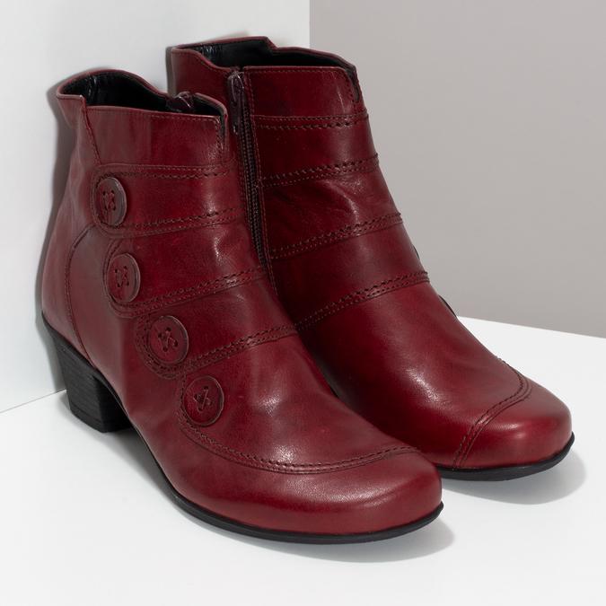 Červené kožené dámské kozačky s knoflíky gabor, červená, 696-5101 - 26