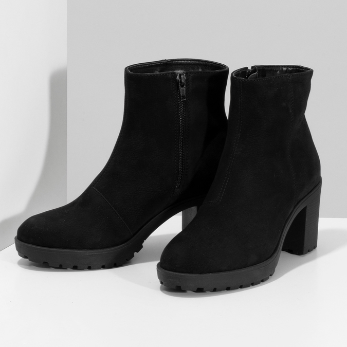 Kotníčkové černé kozačky z broušené kůže bata, černá, 796-6612 - 16